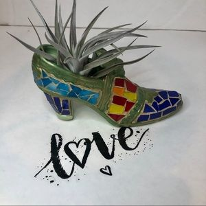Ceramic Shoe Mosaic with Airplant  length: 7 1/2""